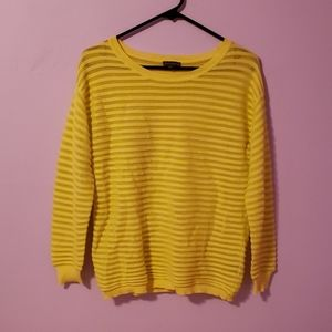 Neon Yellow Sheer Striped Sweater [Vince Camuto]